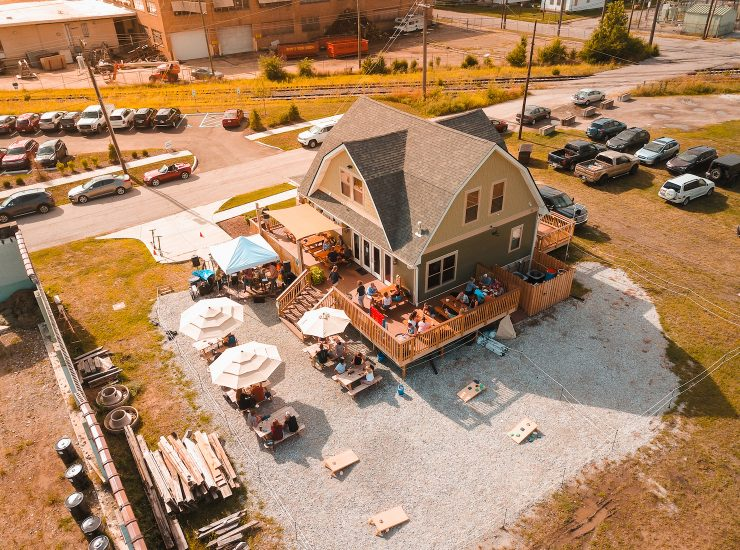 Aerial Drone Shot of the entire Guggman Haus complex on the historic grounds of Boyle Racing.