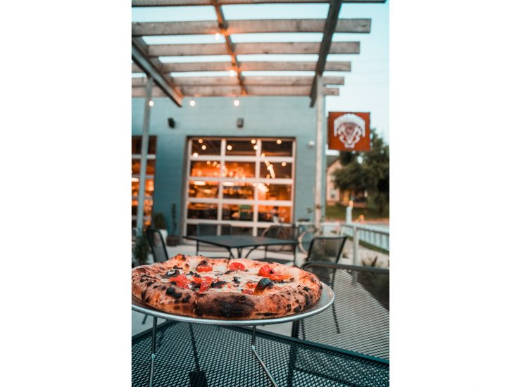 King Dough Pizzeria Outside Table With Veggie Pizza
