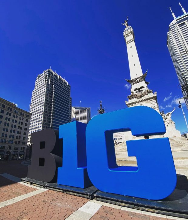 Downtown Indianapolis gets ready for the Big 10 Championship and soon the NCAA tournament with a display on Monument Circle.